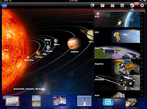 Nasa Ipad App Menu